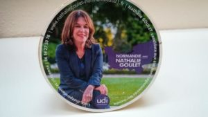 This picture shows a mock up box of Camembert cheese to promote French Senator of the Orne department and member of Union of Democrats and Independents (UDI-UC) group Nathalie Goulet's campaign in the upcoming regional elections, at the Luxembourg Palace in Paris on January 13, 2021. (Photo by Véronique MARTINACHE / AFP)